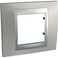 Рамка одноместная Schneider electric Unica TOP Metall(металическая) Никель матовый/алюминий