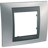 Рамка одноместная Schneider electric Unica TOP Metall(металическая) Хром матовый/графит