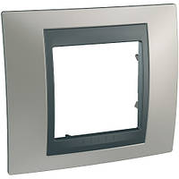 Рамка одноместная Schneider electric Unica TOP Metall(металическая) Никель матовый/графит