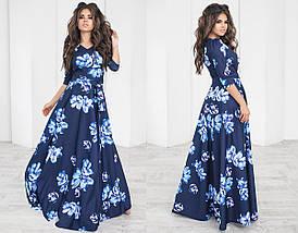 Длинное Платье с широкой юбкой в цветочный принт из трикотажа, фото 3