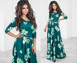 Длинное Платье с широкой юбкой в цветочный принт из трикотажа, фото 2