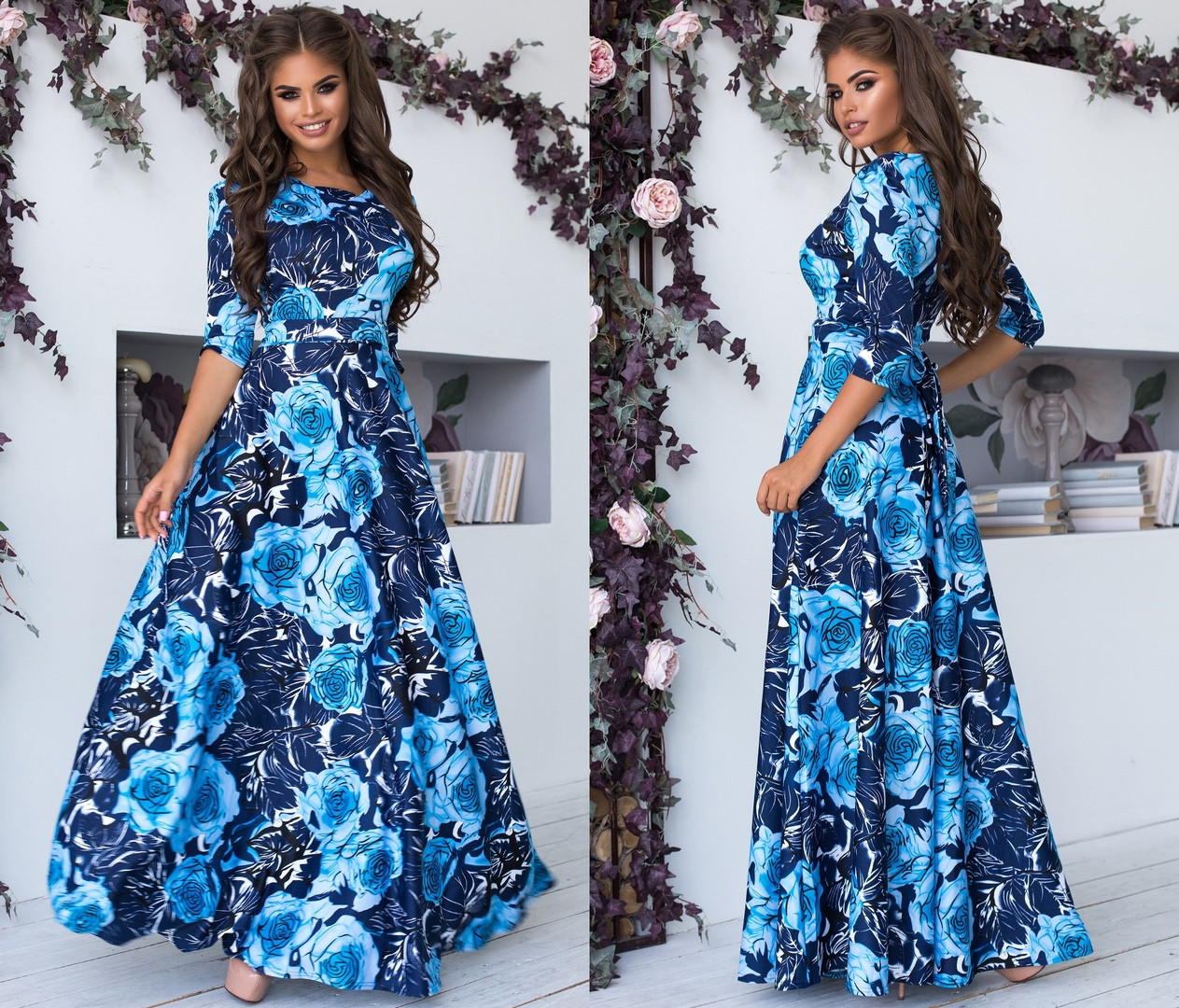 Длинное Платье с широкой юбкой в цветочный принт из трикотажа