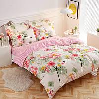 Комплект постільної білизни Рожеві квіти (двоспальний євро), фото 1