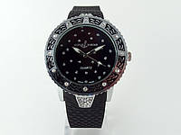 Женские Nardin - Star на черном каучуковом ремешке, серебристый корпус с кристаллами