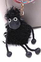 Меховой брелок на сумку в виде Овечки черный (мех ламы)