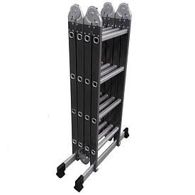 Лестница трансформер, шарнирная, комбинированная (металл+алюминий), Werk LC5416B 4х4