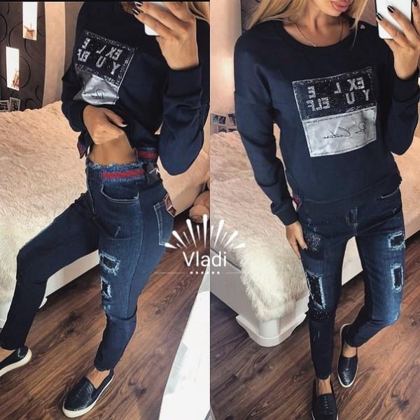 Костюм плотный коттон отделка джинс, камни, качество люкс
