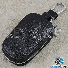 Ключниця кишенькова (шкіряна, чорна, з тисненням, з карабіном, кільцем), логотип авто BMW (БМВ), фото 2