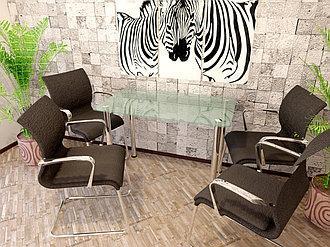 Однополочные столы на хромированных ножках