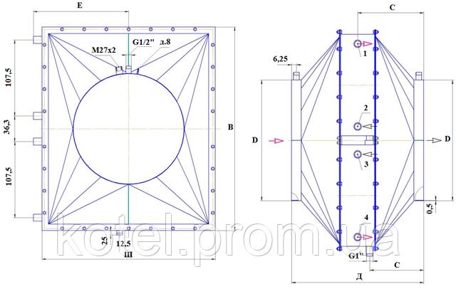 Схема и размеры утилизатора тепла УТ-6