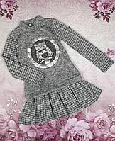 """Классное детское платье на девочку """"Совунья"""" р. 128-140 серый с черым"""