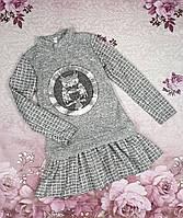 """Классное детское платье на девочку """"Совунья"""" р. 122, серый с белым"""