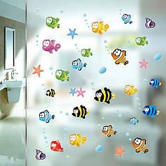 """Виниловые наклейки в ванную, детскую комнату на стены """"разноцветные рыбки"""" 80см*160см (лист 30*90см)"""