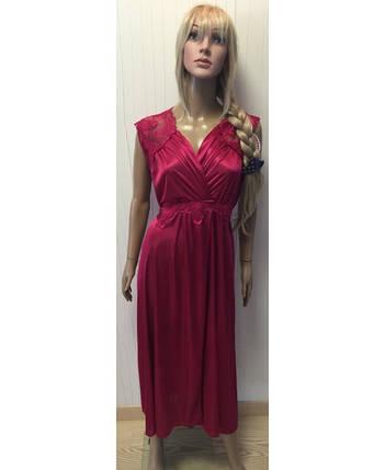 Шелковая ночная рубашка в греческом стиле бордового цвета 48-56 р, фото 2