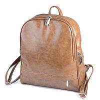 Коричневый женский рюкзак М179-15 на молнии молодежный городской, фото 1
