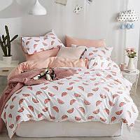 Хлопковый комплект постельного белья Ломтики арбуза (полуторный), фото 1