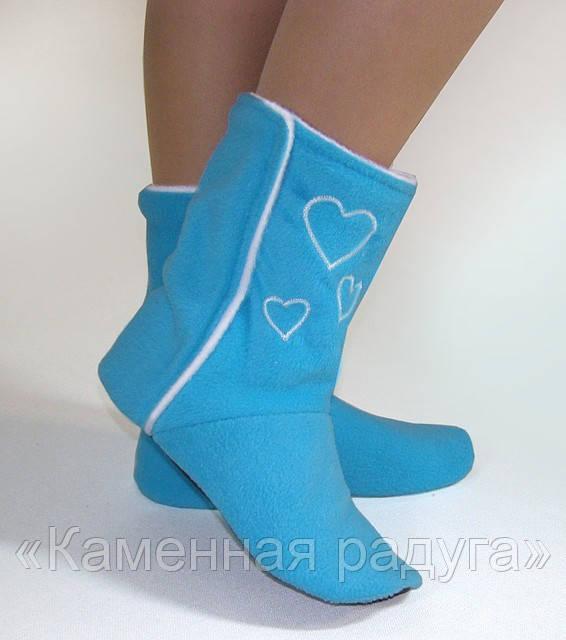 Домашние тапочки-сапожки голубые с сердечками