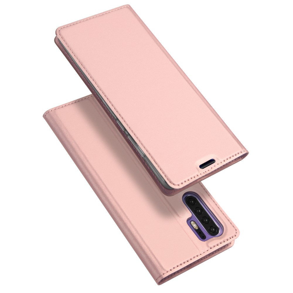 Чехол книжка для Huawei P30 Pro боковой с отсеком для визиток, DUX DUCIS, золотисто-розовый
