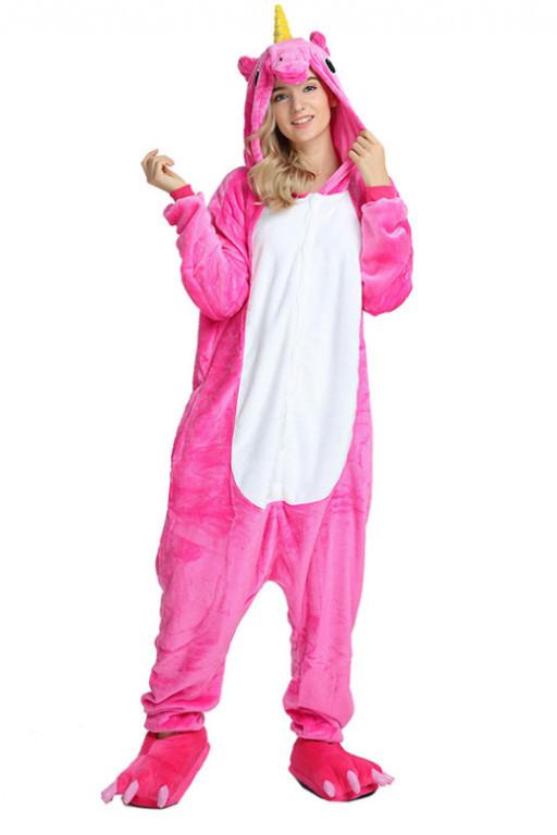 Пижама Кигуруми Единорог Малиновый L