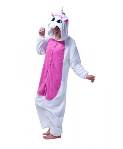 Пижама Кигуруми Единорог Бело-розовый L