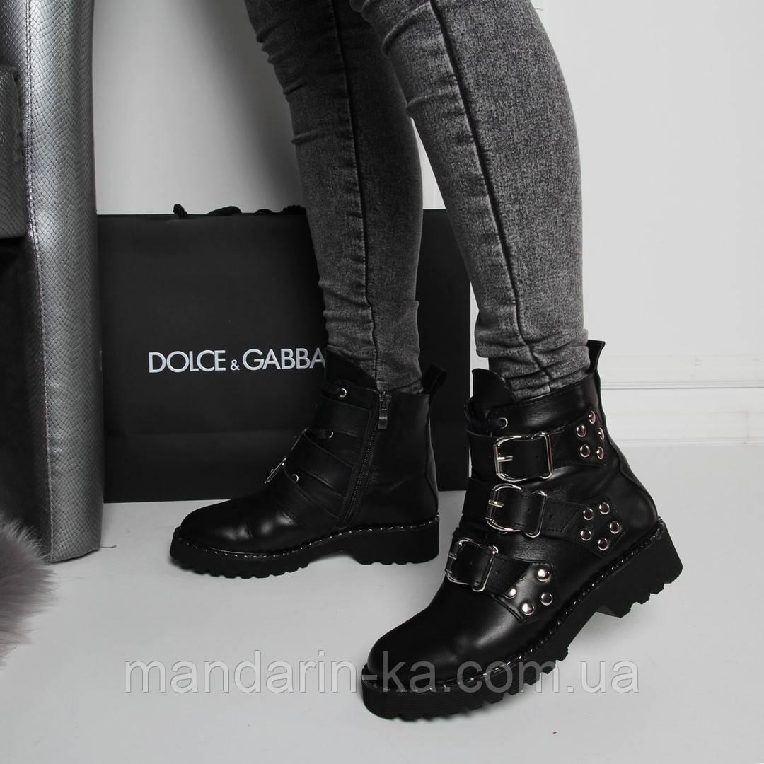 Женские  демисезонные  ботинки  черные  натуральная кожа