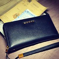 Мужской клатч кошелёк портмоне на змейке GUCCI кожа