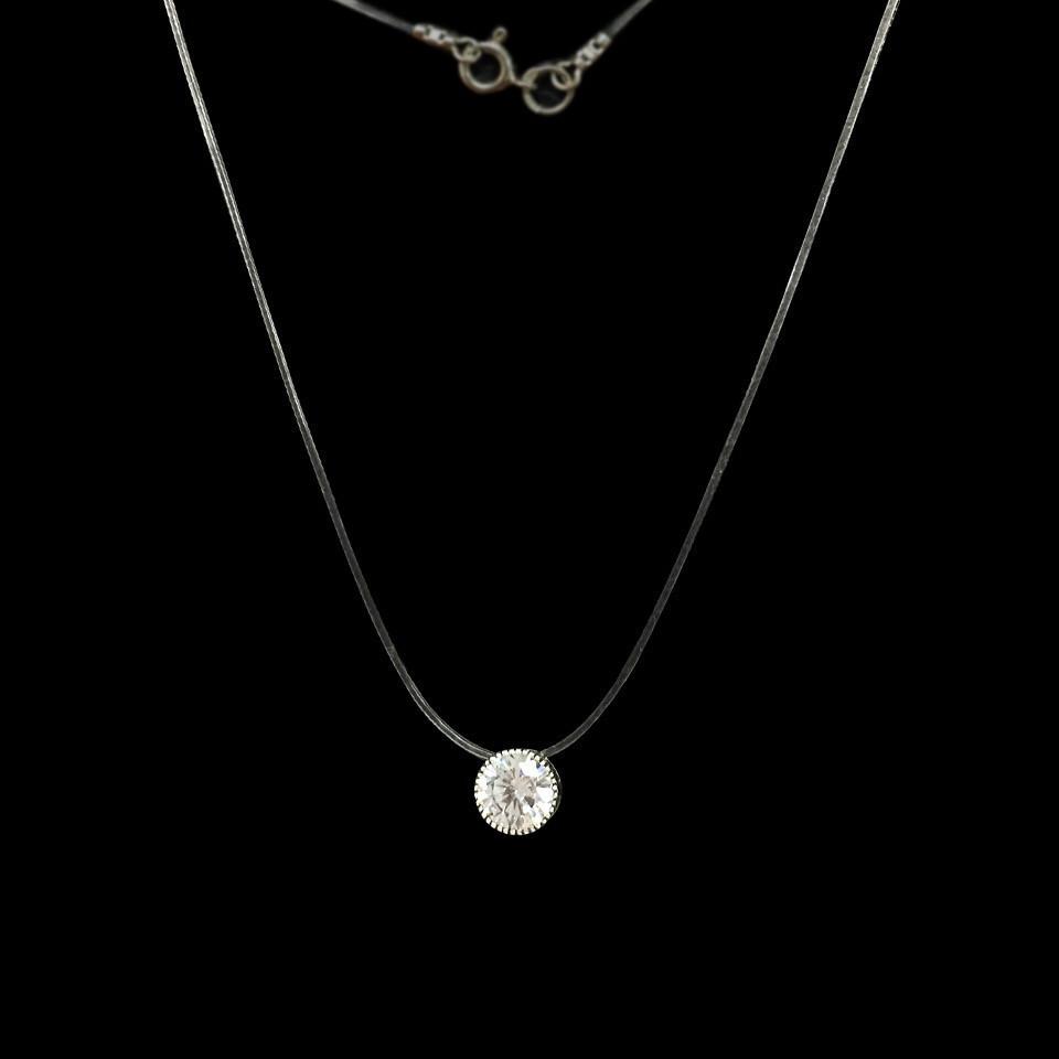 Серебряная подвеска с камнем на силиконе, 370мм