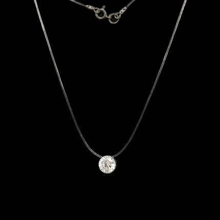 Серебряная подвеска с камнем на силиконе, 370мм, фото 2