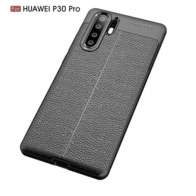 чехол Huawei P30 Pro накладка фактура кожи черный