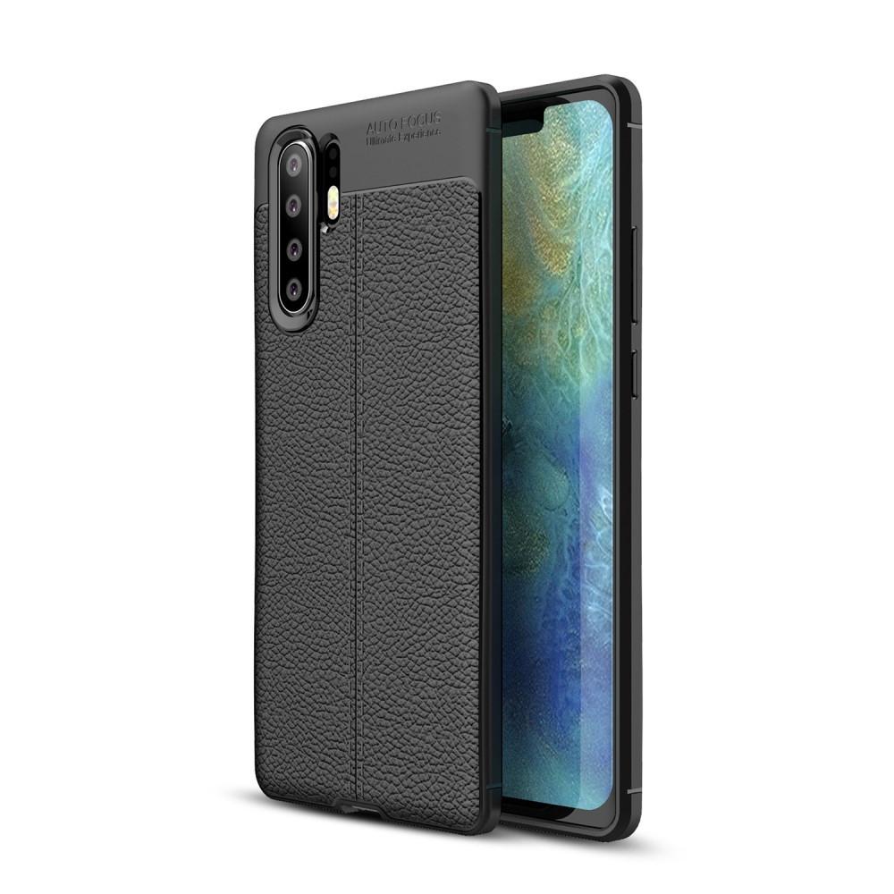 Чехол накладка для Huawei P30 Pro силиконовый, Фактура кожи, черный