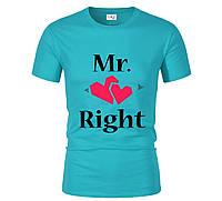 Футболка Mr&Mrs бірюзова для чоловіків