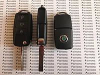 Выкидной автоключ для SKODA (шкода) корпус 3 - кнопки с микросхемой 1KO 959 753 G, 433 Mhz, чип - ID48
