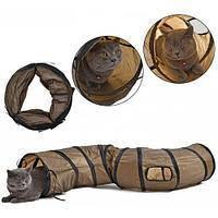 Тоннель для кошек 120x25см нейлоновый шуршащий S-образный туннель