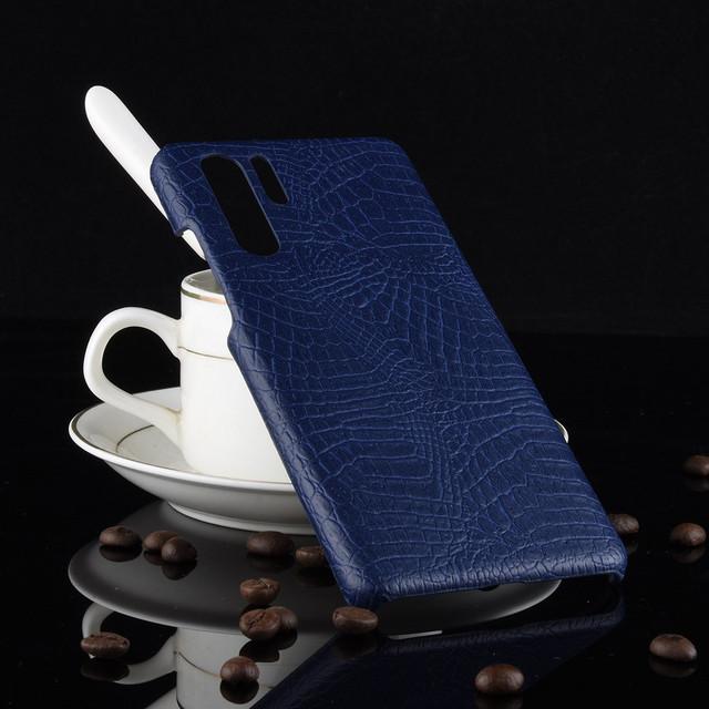 чехол Huawei P30 Pro накладка крокодиловая кожа темно-синий