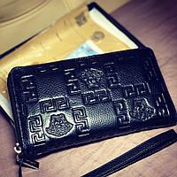 Мужской клатч кошелёк портмоне на змейке VERSACE кожа