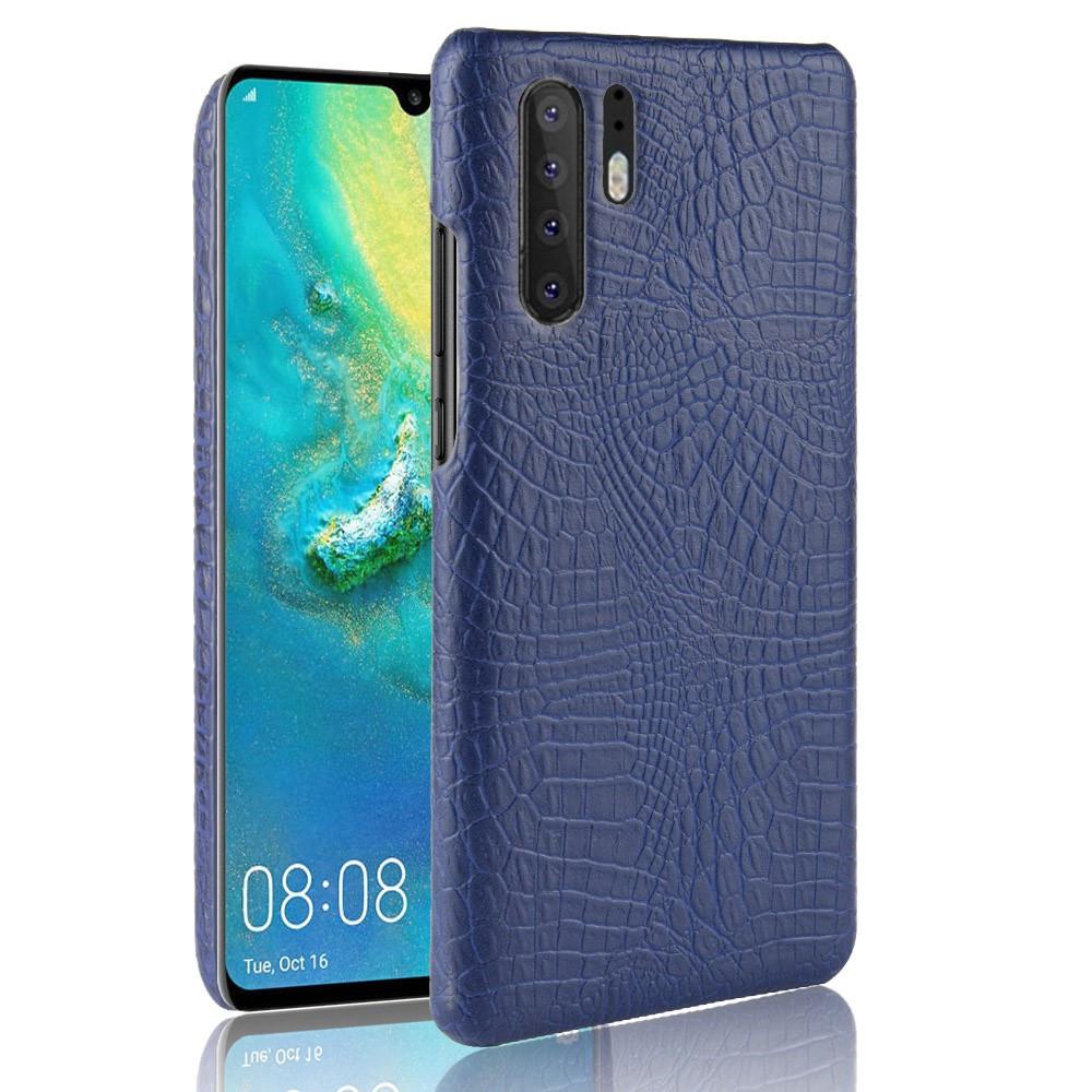 Чехол накладка для Huawei P30 Pro пластик и искусственная кожа, Крокодиловая кожа, темно-синий