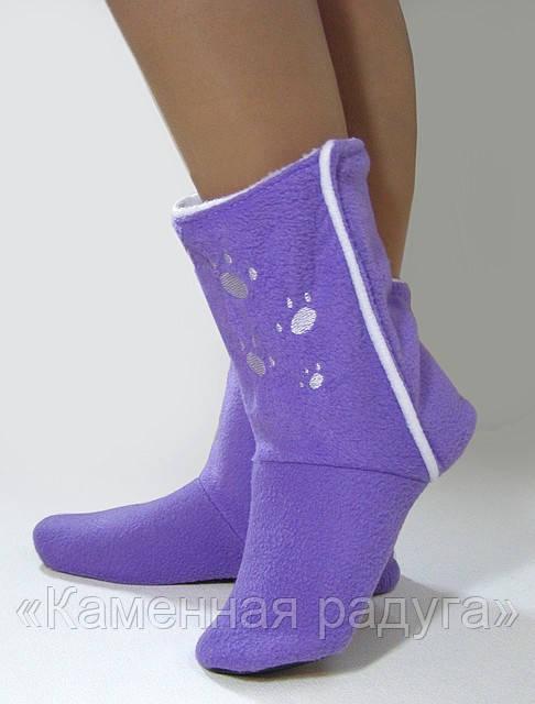 Домашние тапочки-сапожки фиолетовые с лапками
