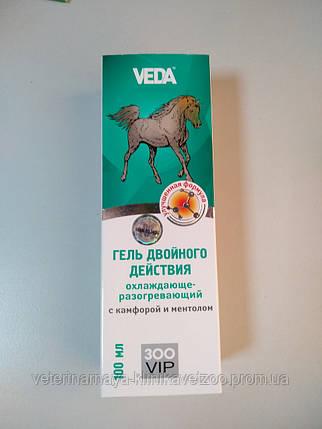 Гель для лошадей двойного действия, охлаждающе-разогревающий с камфорой и ментолом 100 мл.(ЗооВип), фото 2