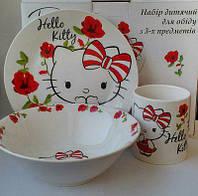 """Подарочный набор посуды с героями мультфильмов """" Китти  """" ( керамика )"""