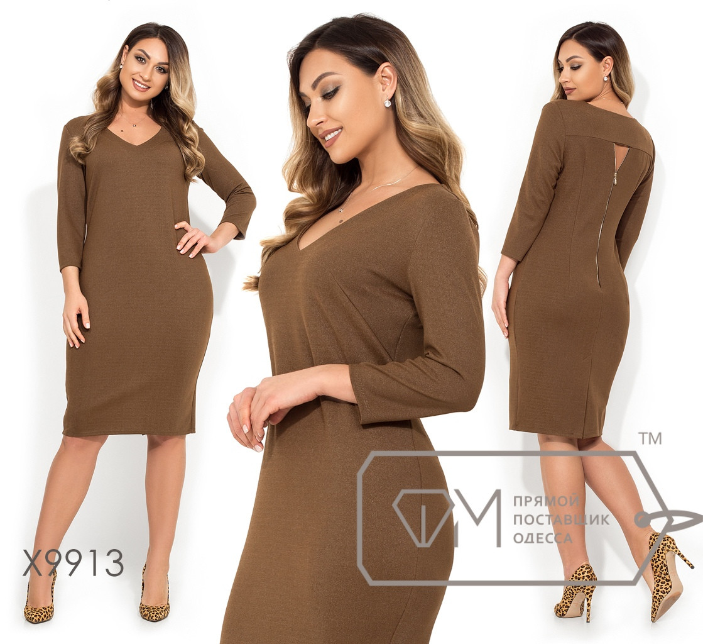 Платье-миди из трикотажа+напыление с V-образным вырезом, рукавами 3/4 и молнией от задней кокетки, 2 цвета