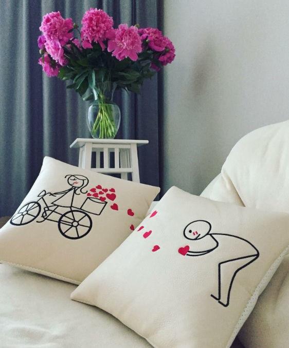 """Набор из двух подушек Slivki """"Велосипед"""", цвет бежевый"""