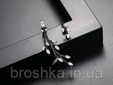 Серьги кафф асимметрия в черном родиевом покрытии с камнями, фото 2