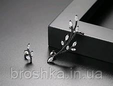 Серьги кафф асимметрия в черном родиевом покрытии с камнями, фото 3