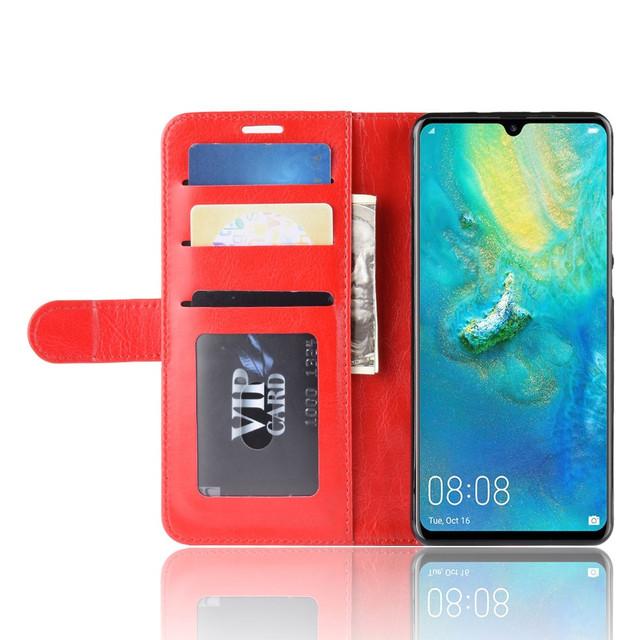 чехол Huawei P30 Pro книжка гладкая красная кожа