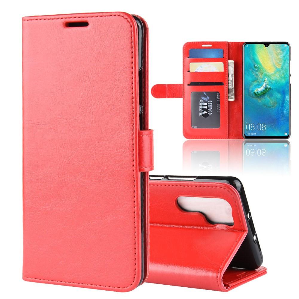 Чехол книжка для Huawei P30 Pro боковой с отсеком для визиток, Гладкая кожа, красный