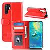 Чехол книжка для Huawei P30 Pro боковой с отсеком для визиток, Гладкая кожа, красный, фото 7