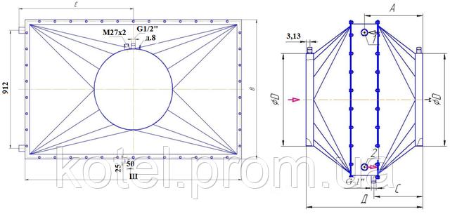 Схема и размеры утилизатора тепла УТ-7