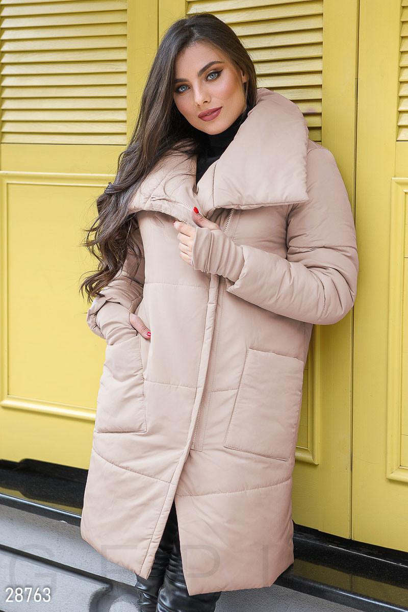 Зимнее пальто с митенками