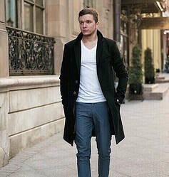 Мужское стильное пальто в черном цвете