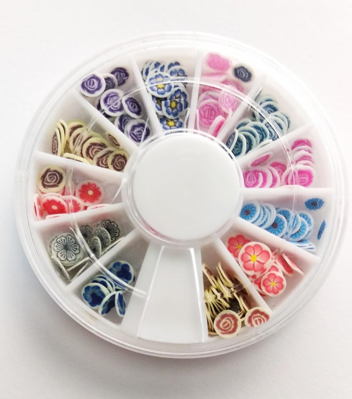 Фимо фигурки для декора ногтей в карусельке цветы